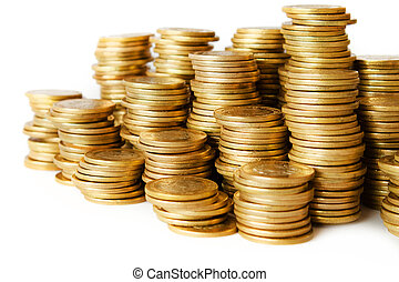 piles of golden coins on white background, mexican ten pesos...