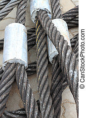 Detail of a galvanized wire rope