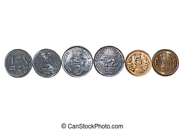 Close up row Indian Coins isolated copy space