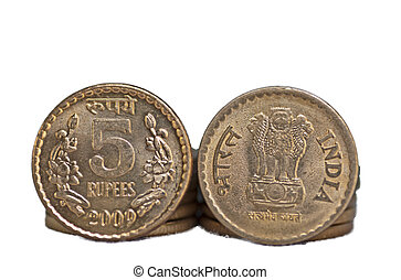 Closeup Indian Coin isolated on white copy space - Close up...
