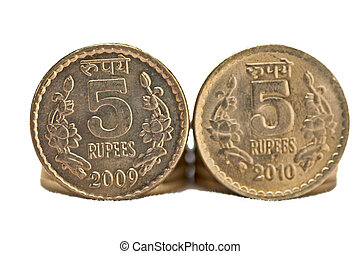 Close up of Indian Coin 5 rupees isolated copy space - Close...