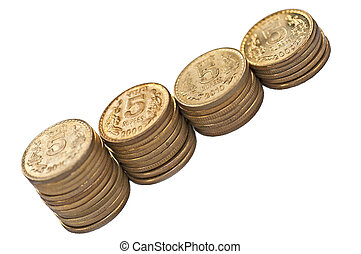 Close up of Indian Coin stack 5 rupees isolated copy space -...