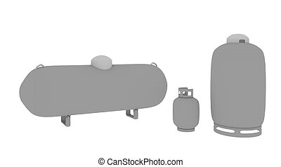 three propane tanks - three sizes of propane tanks from...