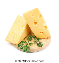 large chunks of cheese isolated on white background