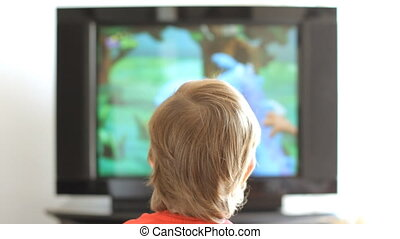 Boy and old tv - Little boy watching television