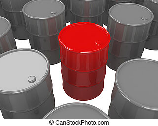 Barrels of oil on a white background