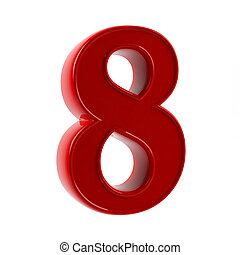 Figure eight, represented on a white background 3d the image...
