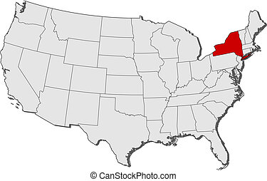 Map of the United States, New York highlighted - Political...