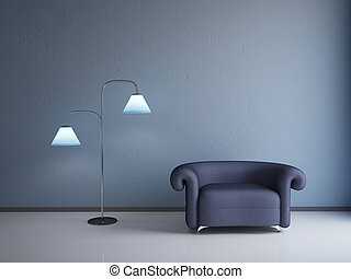 Interior with a blue armchair