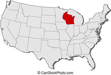 Map of the United States, Wisconsin highlighted - Political...