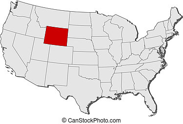 Map of the United States, Wyoming highlighted - Political...