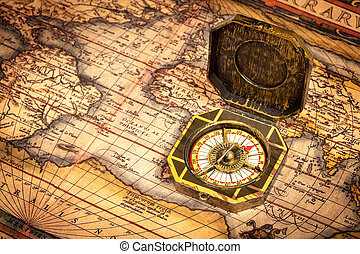 Vintage pirate compass on ancient map - Vintage pirate retro...