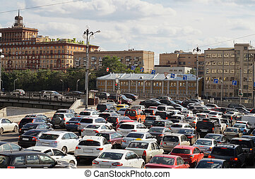 traffic jum - MOSCOW - june 9, 2012: traffic jum in Moscow...