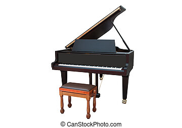 grand piano - The image of a grand piano under the white...