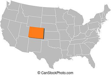 Landkarte, vereint, Staaten, colorado, hervorgehoben
