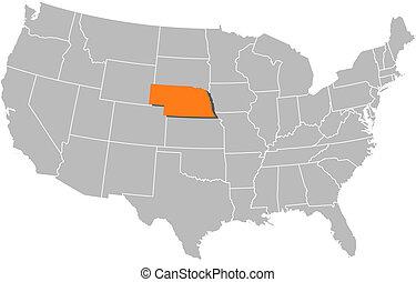 Landkarte, vereint, Staaten, nebraska, hervorgehoben