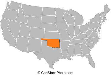 Landkarte, vereint, Staaten, Oklahoma, hervorgehoben