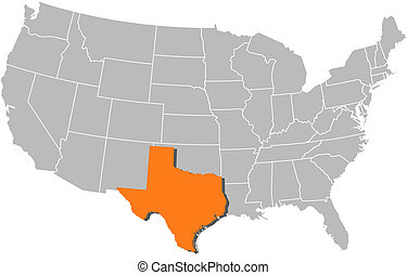 Map of the United States, Texas highlighted - Political map...