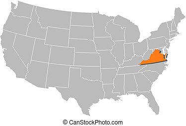 Landkarte, vereint, Staaten, Virginia, hervorgehoben