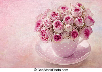 Pink vintage rose on pink background