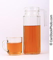 Bottled green tea for healthy life over a white background -...