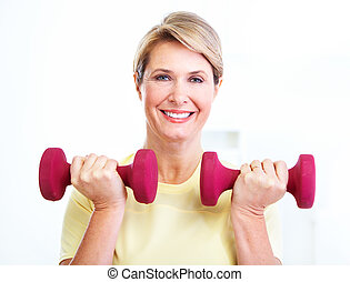 Senior woman doing fitness.