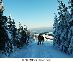 Winter sports - hikers in mountains