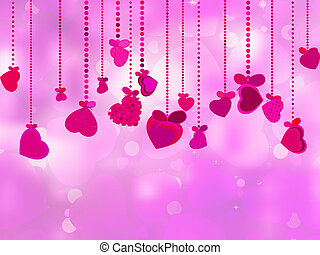 Valentine's Day with hearts on ribbons. EPS 8