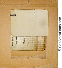 Old archive with letters, photos on the abstract grunge background