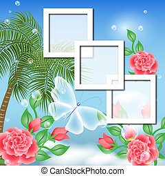 Page layout photo album with palm and roses