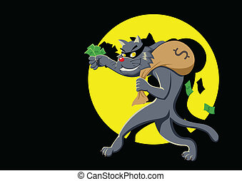 Thief - Cartoon illustration of a cat with a bag of money...