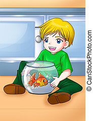 Boy and Gold Fish - Cartoon illustration of a kid with his...
