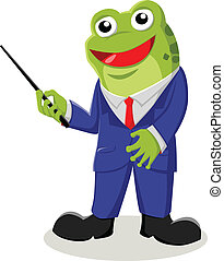 Teacher - Cartoon illustration of a frog with pointer stick