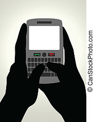 Texting - Vector illustration of hands using smart phone