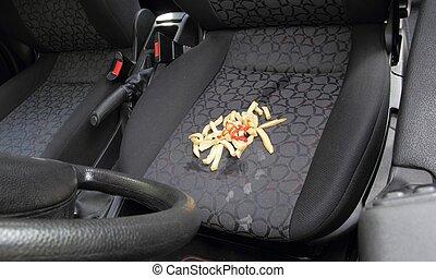 Sujo, francês, frita, derramado, car, assento