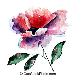 Stylized Poppy flower, watercolor illustration