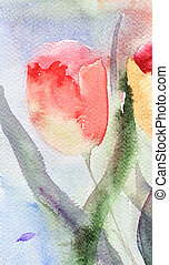 Watercolor background with stylized tulips flowers