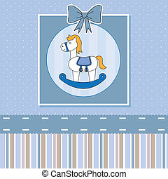 rocking horse - new baby shower card. rocking horse