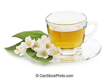 Jasmine tea - Herbal jasmine tea isolated on white...