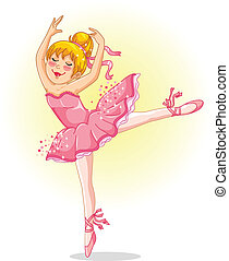 young ballerina - young ballet dancer in pink tutu dress