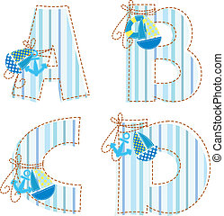 Patchwork alphabet Letter A, B, C, D - Fabric striped marine...