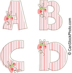 Patchwork alphabet. Letter A, B, C, D - Fabric striped...
