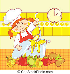 little girl cook - little girl chef cooks soup