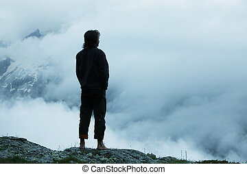 Man silhouette in mountains - man silhouette