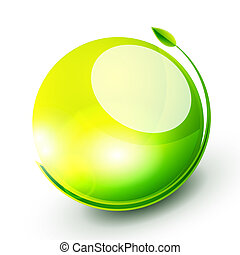 Green sphere concept - Abstract vector nature icon with leaf...