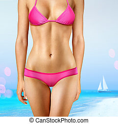 woman in pink bathing suit - body of woman in pink bathing...