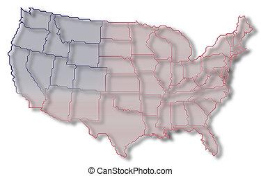 Landkarte, vereint, Staaten