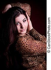Beautiful nice woman with long hair