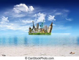 World landmarks - Tropical beach with shells and tropical...