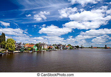 view in Zaanse Schans in North Holland - view on river and...
